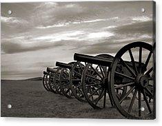 Cannon At Antietam Black And White Acrylic Print by Judi Quelland
