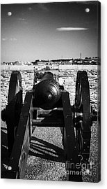 Cannon On Church Bastion Facing Out On The 17th Century Walls Of Derry City Acrylic Print by Joe Fox