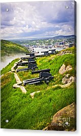 Cannons On Signal Hill Near St. John's Acrylic Print by Elena Elisseeva