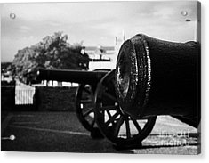 Cannons On The Mall Wall And Double Bastion Section Of Derrys City Walls Acrylic Print by Joe Fox
