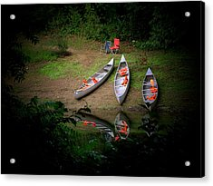 Canoe Bank Acrylic Print by Michael L Kimble