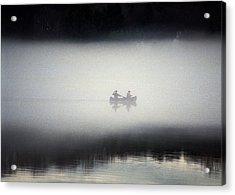 Canoe In Fog Acrylic Print by Kurt Weiss