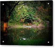 Canoe On Cacapon Acrylic Print by Michael L Kimble