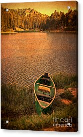 Canoe On Lake Acrylic Print by Jill Battaglia