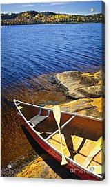 Canoe On Shore Acrylic Print by Elena Elisseeva