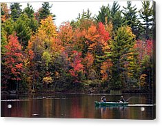 Canoeing In Autumn Acrylic Print