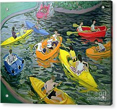 Canoes Acrylic Print by Andrew Macara