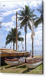 Canoes At Hui O Waa Lahaina Maui Hawaii Acrylic Print by Sharon Mau