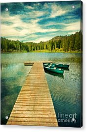 Canoes At The End Of The Dock Acrylic Print by Jill Battaglia