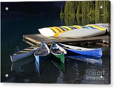 Canoes Morraine Lake 2 Acrylic Print by Bob Christopher