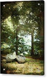 Canoes On The Shore Acrylic Print by Stephanie Frey