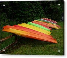 Canoes  Acrylic Print by Pamela Turner
