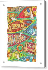 Canoes Acrylic Print by Pete Cochrane