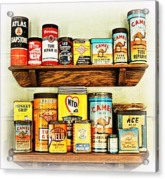 Cans Of Old Acrylic Print by Marty Koch