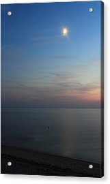 Cape Cod Bay Dusk Moon Acrylic Print by John Burk