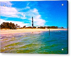 Cape Lookout Shore And Lighthouse Acrylic Print