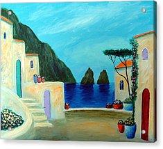 Acrylic Print featuring the painting Capri Villa by Larry Cirigliano