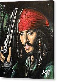 Captain Jack Sparrow Acrylic Print by Tom Carlton