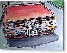 Got Milk Car Hood Sketchbook Project Down My Street Acrylic Print by Irina Sztukowski