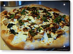 Caramelized Onion And Spinach Pizza Acrylic Print by Anne Babineau