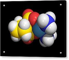 Carboplatin Molecule, Cancer Drug Acrylic Print by Dr Tim Evans