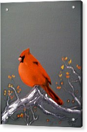 Acrylic Print featuring the painting Cardinal by Al  Johannessen