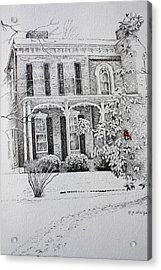 Acrylic Print featuring the drawing Cardinal by Patsy Sharpe
