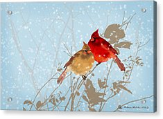 Cardinals In The Snow Acrylic Print by Melanie Whitaker