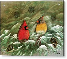 Acrylic Print featuring the painting Cardinals In Winter Male And Female Cardinals by Judy Filarecki