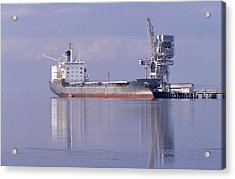 Cargo Tanker Ship Tied Up To A Jetty Acrylic Print