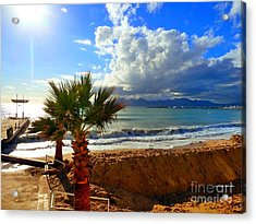 Acrylic Print featuring the photograph Carlton Beach Cannes by Rogerio Mariani