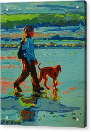 Carmel Beach Sunset Dog Walk Acrylic Print by Thomas Bertram POOLE