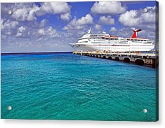 Carnival Elation Docked At Cozumel Acrylic Print by Jason Politte