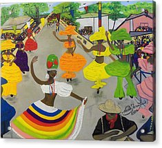 Carnival In Port-au-prince Haiti Acrylic Print by Nicole Jean-Louis