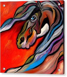 Carousel - Abstract Horse Art By Fidostudio Acrylic Print by Tom Fedro - Fidostudio