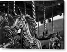 Acrylic Print featuring the photograph Carousel Horses Mono by Steve Purnell