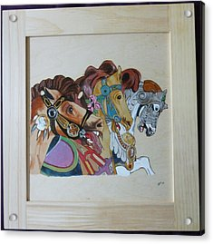 Carousel Horses Pyrographic Wood Burn Art Original 15.5 X 15.5 Inch Complete With Frame By Pigatopia Acrylic Print