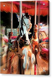 Acrylic Print featuring the photograph Carousel Horses by Renee Trenholm