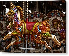 Acrylic Print featuring the photograph Carousel Horses by Steve Purnell