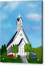 Acrylic Print featuring the painting Carpenter Gothic Church In Louisiana by Margaret Harmon