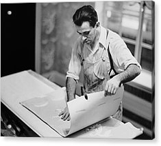 Carpenter Putting On Wallpaper Acrylic Print by George Marks