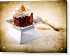 Carrot Cupcake Acrylic Print by James Bethanis