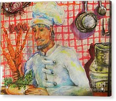 Carrot Soup Chef Acrylic Print by Emily Michaud