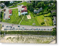 Cars Line Up At The Parking Lot At Chatham Lighthouse And Chatha Acrylic Print by Matt Suess