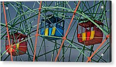 Cars Of Coney Island's Wonder Wheel Acrylic Print by Ercole Gaudioso