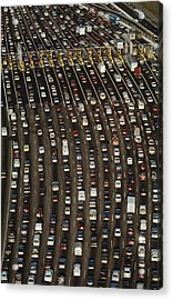Cars Queue Up At A Tollbooth On The Bay Acrylic Print by James A. Sugar