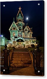 Carson Mansion At Christmas With Moon Acrylic Print by Greg Nyquist