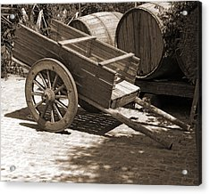 Cart And Wine Barrels In Italy Acrylic Print by Greg Matchick