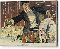 Cartoon Depicting A Giant Businessman Acrylic Print by Everett