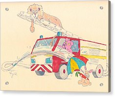 Cartoon Fire Engine And Animals Acrylic Print